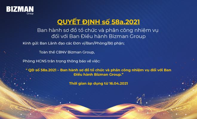 Ban hành sơ đồ tổ chức và phân công nhiệm vụ đối với Ban Điều hành Bizman Group