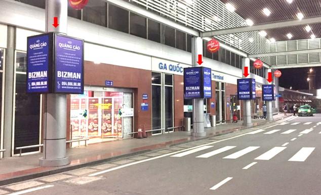 Vị trí DS01 – DS04: Bảng hộp đèn quảng cáo ốp cột sảnh công cộng bên ngoài Ga đến và đi Quốc nội