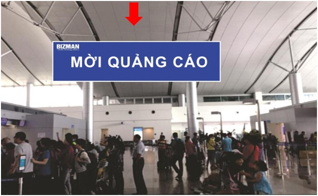 Vị trí CI06: Bảng treo thả trần khu vực check-in, ga đi Quốc tế