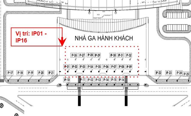 Vị trí IP01 - IP16: Ốp trụ cột sảnh công cộng, trước cửa ga đến, tầng 1